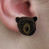 Bear Black Earrings Post
