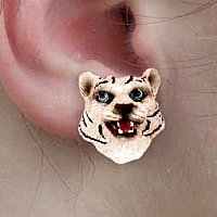 Tiger White Earrings Post