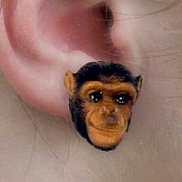 Chimpanzee Earrings Post