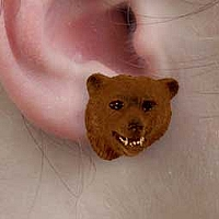 Bear Grizzly Earrings Post