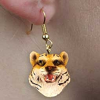 Tiger Earrings Hanging