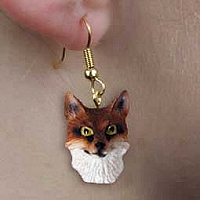 Fox Red Earrings Hanging