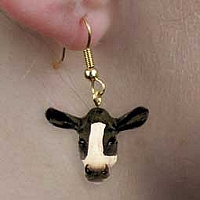 Holstein Cow Earrings Hanging