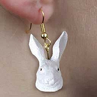 Rabbit White Earrings Hanging