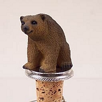 Bear Brown Bottle Stopper