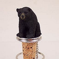 Bear Black Bottle Stopper