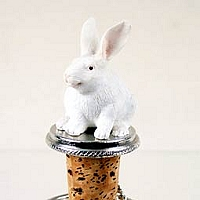 Rabbit White Bottle Stopper