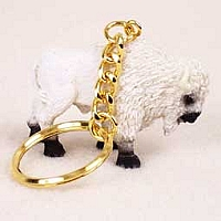 Buffalo White Key Chain