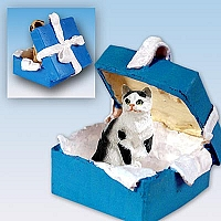 Black & White Shorthaired Tabby Cat Gift Box Blue Ornament