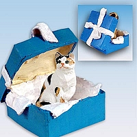 Calico Shorthaired Gift Box Blue Ornament