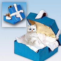 White Persian Gift Box Blue Ornament