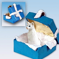 White Oriental Shorthaired Gift Box Blue Ornament