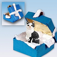 Black & White Manx Gift Box Blue Ornament