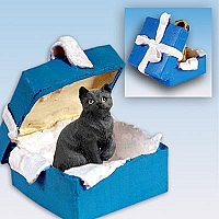 Black Shorthaired Tabby Cat Gift Box Blue Ornament