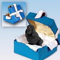 Poodle Black Gift Box Blue Ornament