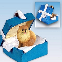 Pomeranian Red Gift Box Blue Ornament