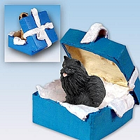 Pomeranian Black Gift Box Blue Ornament