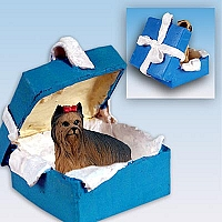 Yorkshire Terrier Gift Box Blue Ornament