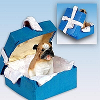 Bulldog Gift Box Blue Ornament
