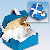 Bulldog White Gift Box Blue Ornament
