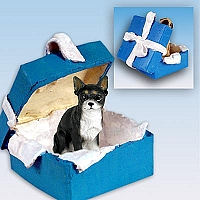 Chihuahua Black & White Gift Box Blue Ornament