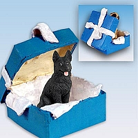 German Shepherd Black Gift Box Blue Ornament