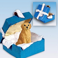 Golden Retriever Gift Box Blue Ornament