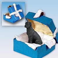 Great Dane Black w/Uncropped Ears Gift Box Blue Ornament