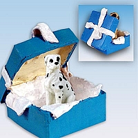 Great Dane Harlequin w/Uncropped Ears Gift Box Blue Ornament