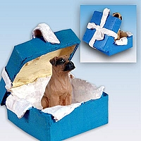 Boxer Tawny w/Uncropped Ears Gift Box Blue Ornament