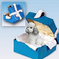 Poodle Gray w/Sport Cut Gift Box Blue Ornament