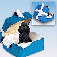 Poodle Black w/Sport Cut Gift Box Blue Ornament