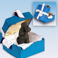Poodle Chocolate w/Sport Cut Gift Box Blue Ornament