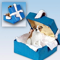 Jack Russell Terrier Brown & White w/Smooth Coat Gift Box Blue Ornament