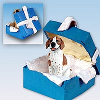 Pointer Brown & White Gift Box Blue Ornament