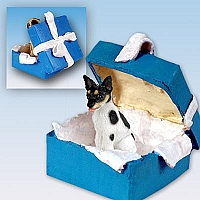 Rat Terrier Gift Box Blue Ornament