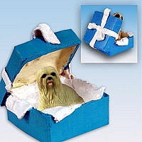 Lhasa Apso Blonde Gift Box Blue Ornament