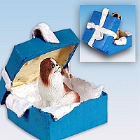 Japanese Chin Red & White Gift Box Blue Ornament