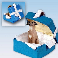 Italian Greyhound Gift Box Blue Ornament