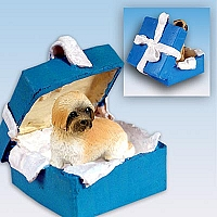 Lhasa Apso Brown w/Sport Cut Gift Box Blue Ornament