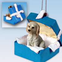 Labradoodle Cream Gift Box Blue Ornament