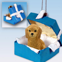 Goldendoodle Gift Box Blue Ornament