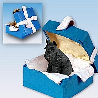 Schnauzer Black Gift Box Blue Ornament