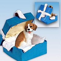 Beagle Gift Box Blue Ornament