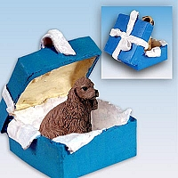 Cocker Spaniel Brown Gift Box Blue Ornament