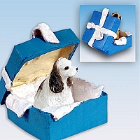 Cocker Spaniel Brown & White Gift Box Blue Ornament