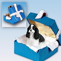Cocker Spaniel Black & White Gift Box Blue Ornament