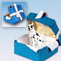Great Dane Harlequin Gift Box Blue Ornament