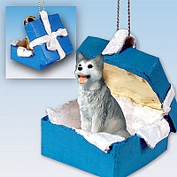 Husky Gray & White w/Brown Eyes Gift Box Blue Ornament