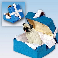 Pug Fawn Gift Box Blue Ornament
